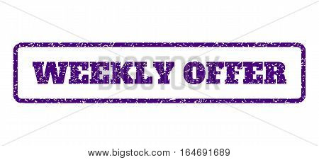 Indigo Blue rubber seal stamp with Weekly Offer text. Vector tag inside rounded rectangular shape. Grunge design and unclean texture for watermark labels. Horisontal sticker on a white background.
