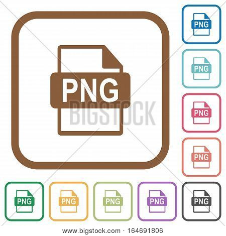 PNG file format simple icons in color rounded square frames on white background