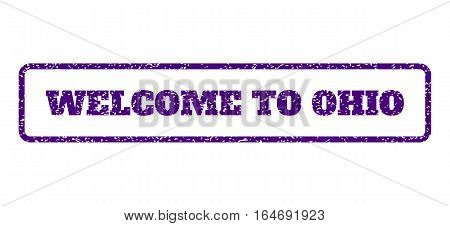 Indigo Blue rubber seal stamp with Welcome To Ohio text. Vector tag inside rounded rectangular frame. Grunge design and scratched texture for watermark labels.