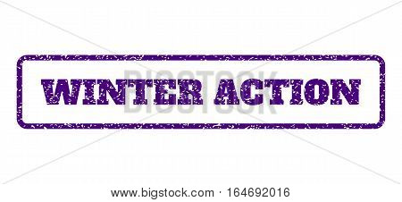Indigo Blue rubber seal stamp with Winter Action text. Vector tag inside rounded rectangular shape. Grunge design and unclean texture for watermark labels. Horisontal sticker on a white background.