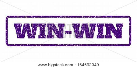 Indigo Blue rubber seal stamp with Win-Win text. Vector message inside rounded rectangular shape. Grunge design and unclean texture for watermark labels. Horisontal sticker on a white background.