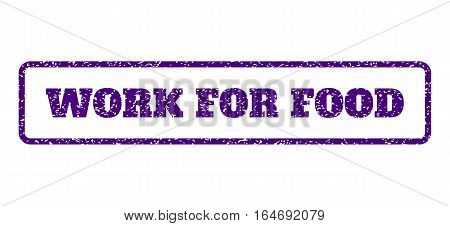 Indigo Blue rubber seal stamp with Work For Food text. Vector message inside rounded rectangular shape. Grunge design and dirty texture for watermark labels. Horisontal sticker on a white background.