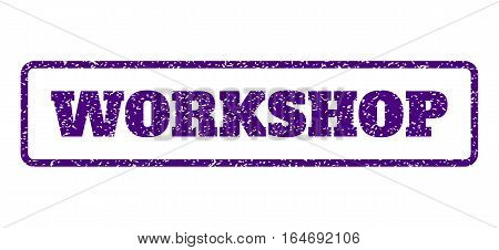 Indigo Blue rubber seal stamp with Workshop text. Vector caption inside rounded rectangular shape. Grunge design and dirty texture for watermark labels. Horisontal sign on a white background.