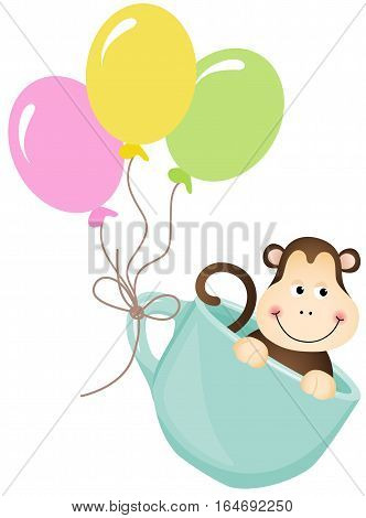 Scalable vectorial image representing a monkey in teacup with balloons, isolated on white.
