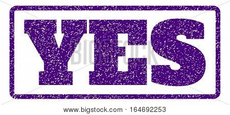 Indigo Blue rubber seal stamp with Yes text. Vector caption inside rounded rectangular banner. Grunge design and unclean texture for watermark labels. Horisontal sign on a white background.