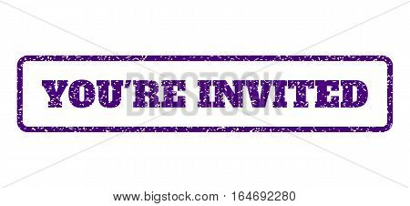 Indigo Blue rubber seal stamp with You'Re Invited text. Vector caption inside rounded rectangular shape. Grunge design and scratched texture for watermark labels.