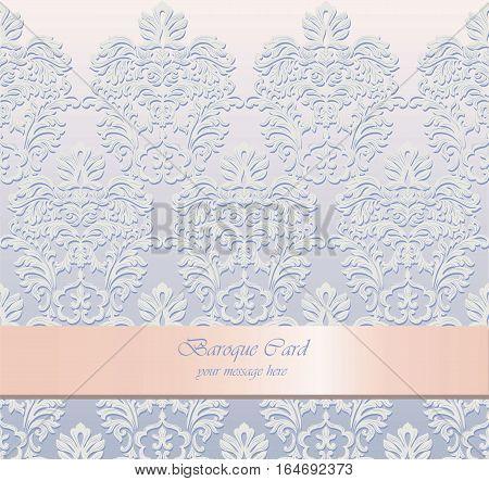 Vintage Delicate Baroque Card. Vector Damask Royal Decor. Elegant Poster for weddings, ceremony, events