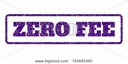 Indigo Blue rubber seal stamp with Zero Fee text. Vector caption inside rounded rectangular frame. Grunge design and dust texture for watermark labels. Horisontal sign on a white background.