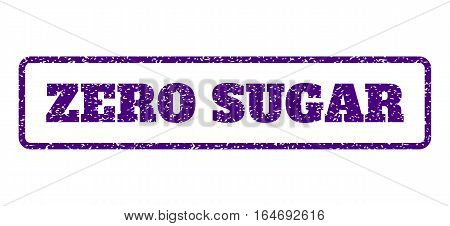 Indigo Blue rubber seal stamp with Zero Sugar text. Vector tag inside rounded rectangular shape. Grunge design and unclean texture for watermark labels. Horisontal sign on a white background.