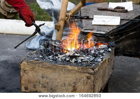 Warming Up For Forging Iron.