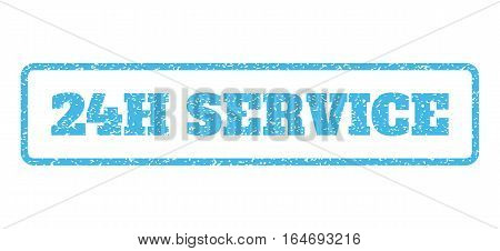 Light Blue rubber seal stamp with 24H Service text. Vector caption inside rounded rectangular shape. Grunge design and dust texture for watermark labels. Horisontal sign on a white background.