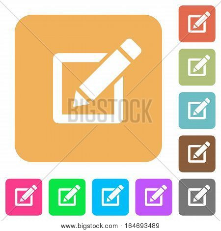 Editor with pencil flat icons on rounded square vivid color backgrounds.