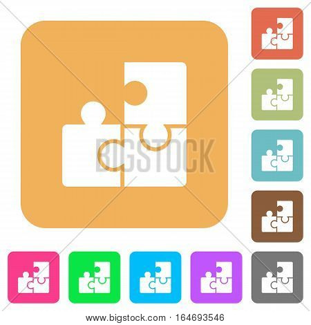 Puzzles flat icons on rounded square vivid color backgrounds.