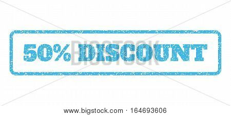 Light Blue rubber seal stamp with 50 Percent Discount text. Vector caption inside rounded rectangular banner. Grunge design and unclean texture for watermark labels.