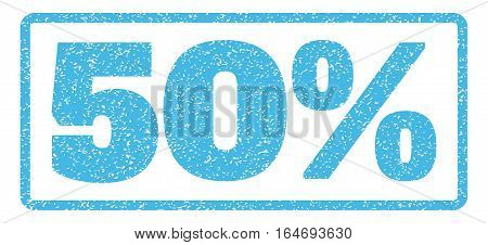 Light Blue rubber seal stamp with 50 Percent text. Vector tag inside rounded rectangular banner. Grunge design and dirty texture for watermark labels. Horisontal sign on a white background.