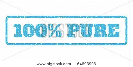 Light Blue rubber seal stamp with 100 Percent Pure text. Vector caption inside rounded rectangular shape. Grunge design and dirty texture for watermark labels. Horisontal sign on a white background.