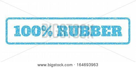 Light Blue rubber seal stamp with 100 Percent Rubber text. Vector tag inside rounded rectangular shape. Grunge design and dust texture for watermark labels. Horisontal emblem on a white background.
