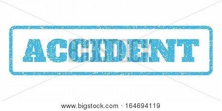 Light Blue rubber seal stamp with Accident text. Vector tag inside rounded rectangular banner. Grunge design and unclean texture for watermark labels. Horisontal sign on a white background.