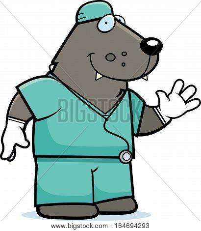 Cartoon Wolf Doctor