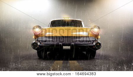 Taxi cab on heavy rain - concept (with vintage overlay) - 3D illustration