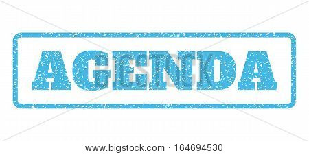 Light Blue rubber seal stamp with Agenda text. Vector tag inside rounded rectangular frame. Grunge design and dirty texture for watermark labels. Horisontal sign on a white background.