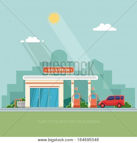 Gas station. Oil fueling petrol with shop. Red car on a pit stop on the city background. Flat vector illustration