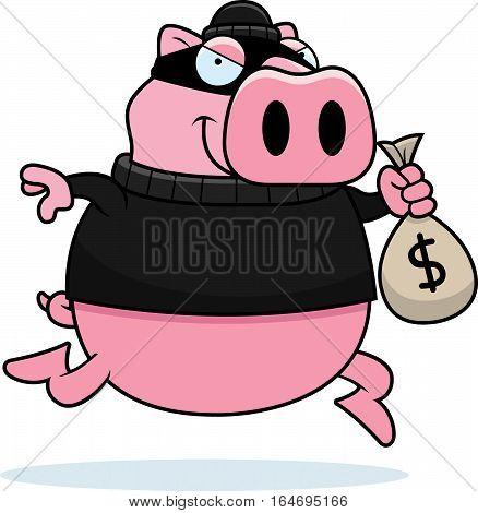 Cartoon Pig Burglar