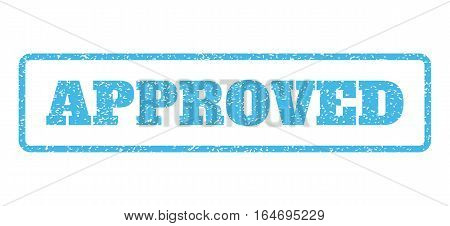 Light Blue rubber seal stamp with Approved text. Vector tag inside rounded rectangular shape. Grunge design and unclean texture for watermark labels. Horisontal emblem on a white background.