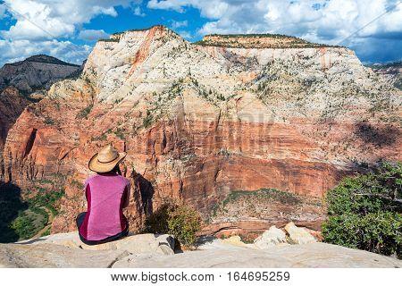 Woman Looking At Zion Canyon