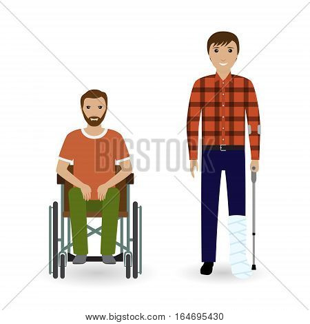 Disability people concept. Two invalid men with disabled legs isolated on a white background. Flat style vector illustration.