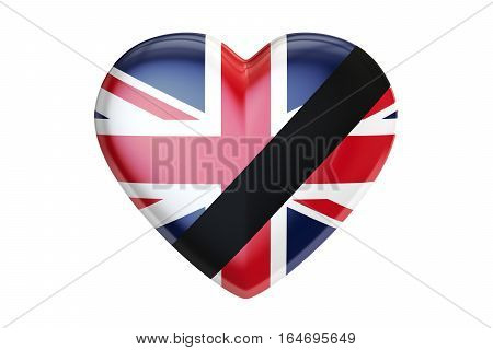 Mourning in United Kingdom concept heart with black ribbon 3D rendering isolated on white background