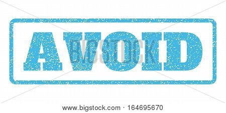 Light Blue rubber seal stamp with Avoid text. Vector message inside rounded rectangular banner. Grunge design and dirty texture for watermark labels. Horisontal sign on a white background.
