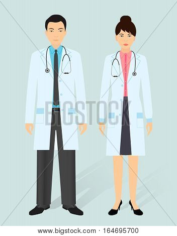 Hospital staff concept. Man and woman asian doctors in medical gowns. Medical people. Flat style vector illustration.