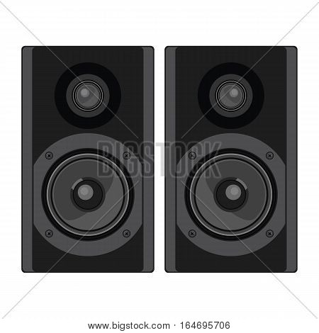 Two speakers. Acoustic system. Vector isolated illustration.