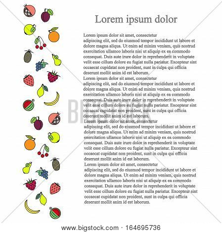 Colorful longitudinal fruit background, black Lorem ipsum, stock vector illustration