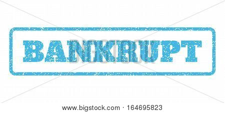 Light Blue rubber seal stamp with Bankrupt text. Vector tag inside rounded rectangular shape. Grunge design and dirty texture for watermark labels. Horisontal sign on a white background.