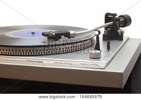 Turntable with vinyl LP record with blue label isolated on white front view closeup
