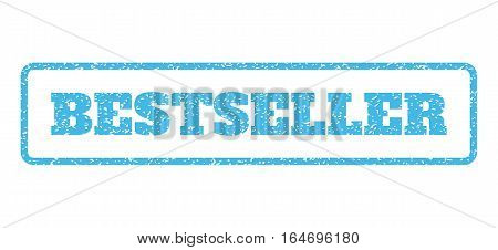 Light Blue rubber seal stamp with Bestseller text. Vector message inside rounded rectangular shape. Grunge design and unclean texture for watermark labels. Horisontal emblem on a white background.