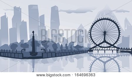 illustration.Outline City Skyscrapers. Business and tourism concept with skyscrapers. Big bridge, background, industrial and infrastructure illustration, white lines landscape,  design art