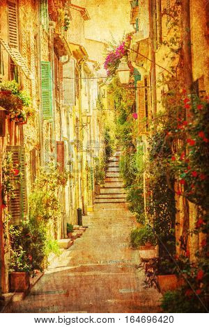 Vintage Style Picture Of A Provencal Alley