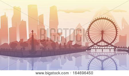 Sunset cityscape.  illustration.Outline City Skyscrapers. Business and tourism concept with skyscrapers. Big bridge, background, industrial and infrastructure illustration, white lines landscape,  design art