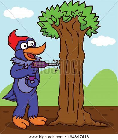 Cartoon illustration of a funny woodpecker hand drilling a tree with a drill