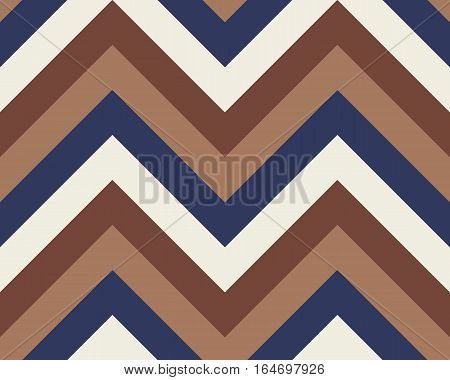Striped, zigzagging seamless pattern. Zig-zag line texture. Stripy geometric background. Brown, orange, purple, white contrast colored. Vector