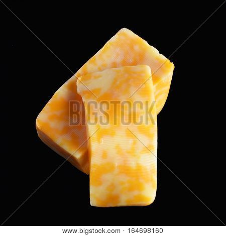 Marbled Cheese Isolated On Black