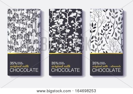 Vector Set Of Chocolate Bar Black, White and Gold Package Designs With Natural Leaves Patterns. Editable Packaging Template Collection. Surface pattern design.