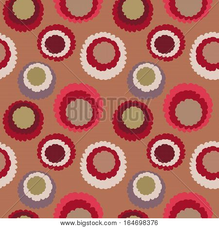 Seamless polka dot, motley texture. Abstract spotty pattern. Circles with torn paper effect. Soft red, orange, gray colored. Cornflakes theme. Vector