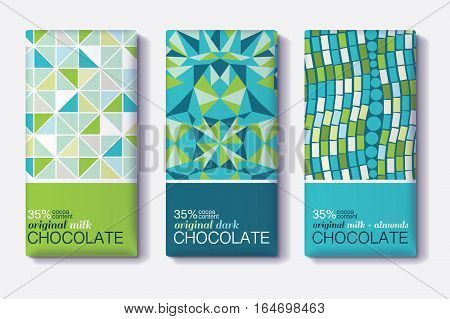 Vector Set Of Chocolate Bar Package Designs With Geometric Mosaic Patterns. Editable Packaging Template Collection. Surface pattern design.