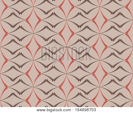 Seamless geometric abstract pattern. Diagonal rhomb shaped, braiding figure texture. Unusual rhombus bands, lines on dark background. Brown, orange, beige colors. Vector