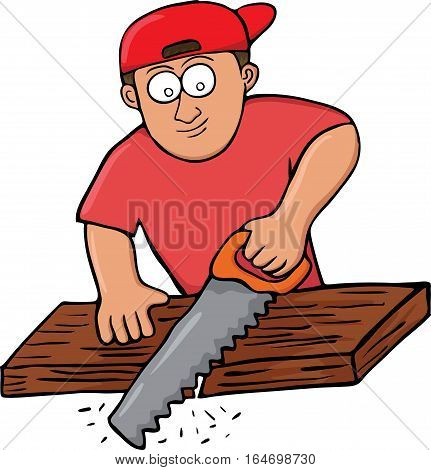 Cartoon illustration of a carpenter cutting wooden board with hand saw