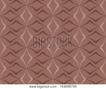 Seamless geometric abstract pattern. Diagonal rhomb shaped, braiding figure texture. Unusual rhombus bands, lines on dark background. Brown, rosybrown colors. Vector
